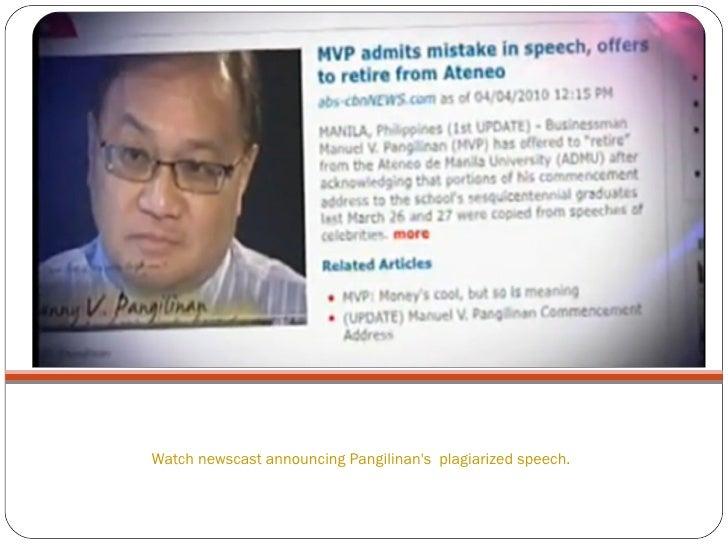 Watch newscast announcing Pangilinan's  plagiarized speech.