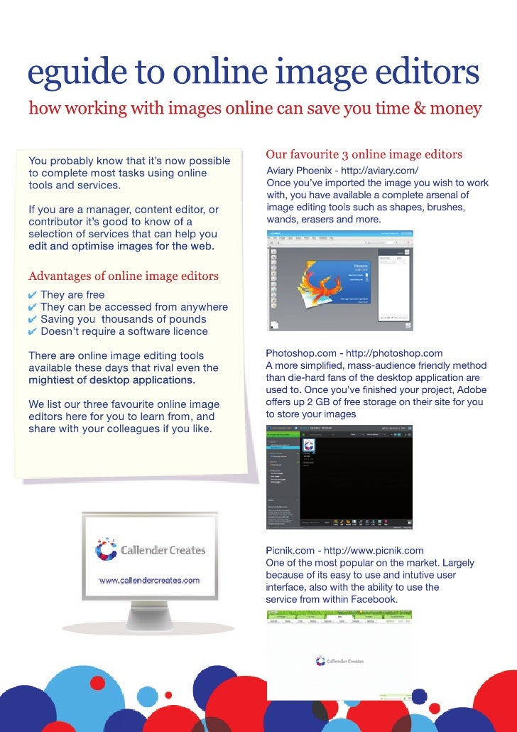 eguide to online image editors how working with images online can save you time & money                                   ...