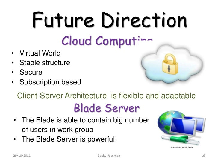 Future Direction                Cloud Computing•   Virtual World•   Stable structure•   Secure•   Subscription based    Cl...