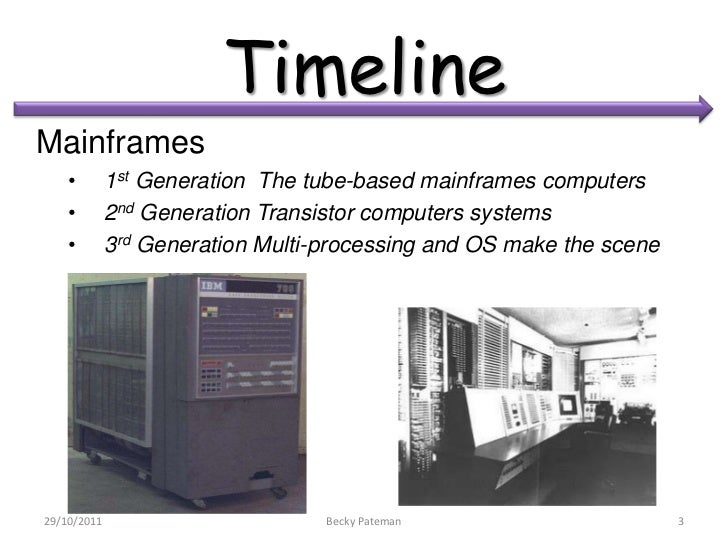 TimelineMainframes    •        1st Generation The tube-based mainframes computers    •        2nd Generation Transistor co...