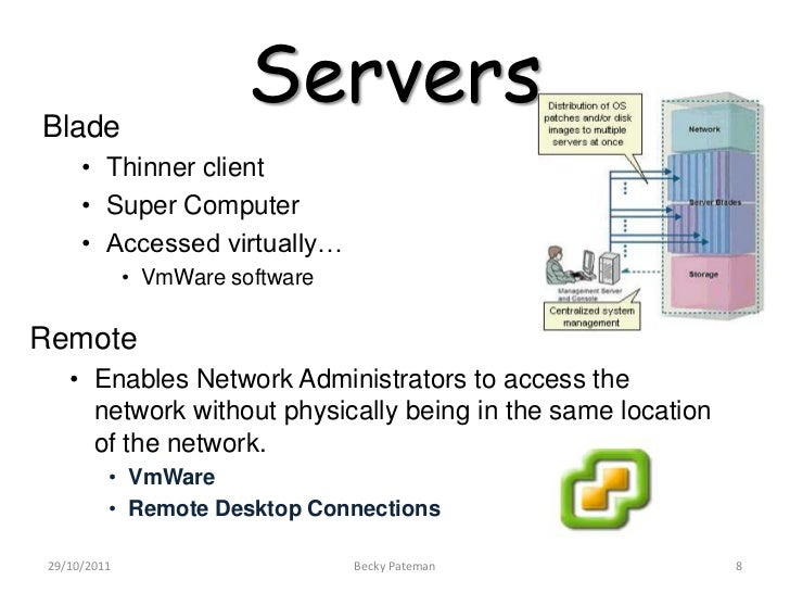 Blade                        Servers     • Thinner client     • Super Computer     • Accessed virtually…             • VmW...