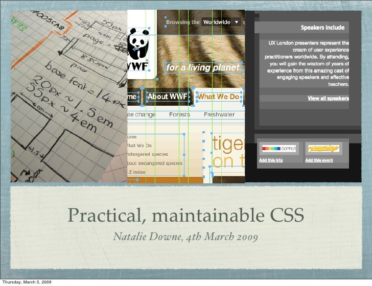 Practical, maintainable CSS                                Natalie Downe, 4th March 2009   Thursday, March 5, 2009
