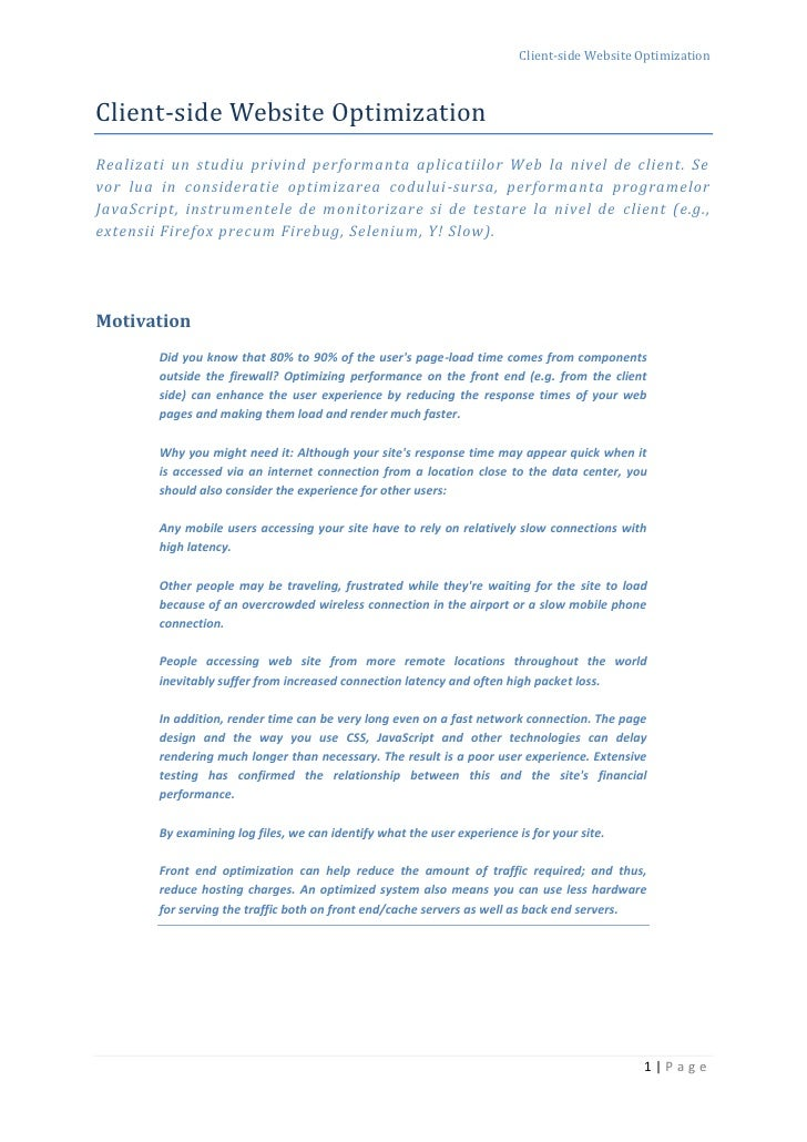 Client-side Website Optimization    Client-side Website Optimization Realizati un studiu privind performanta aplicatiilor ...