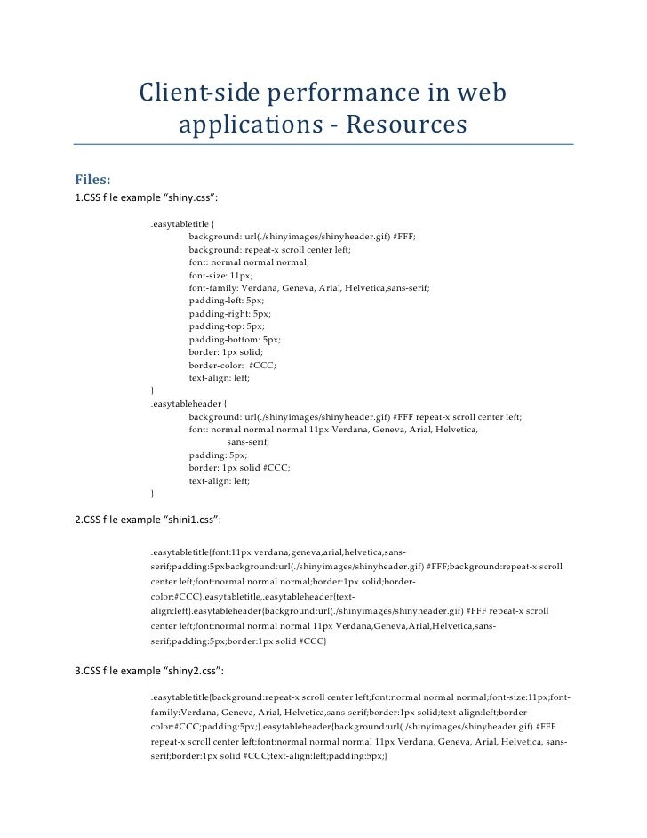 """Client‐sideperformanceinweb                   applications ‐ Resources Files: 1.CSSfileexample""""shiny.css"""":      ..."""