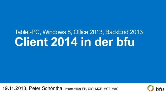 19.11.2013, Peter Schönthal Informatiker FH, CIO, MCP, MCT, MoC