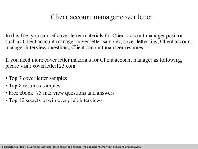 Client Account Manager Cover Letter In This File, You Can Ref Cover Letter  Materials For ...