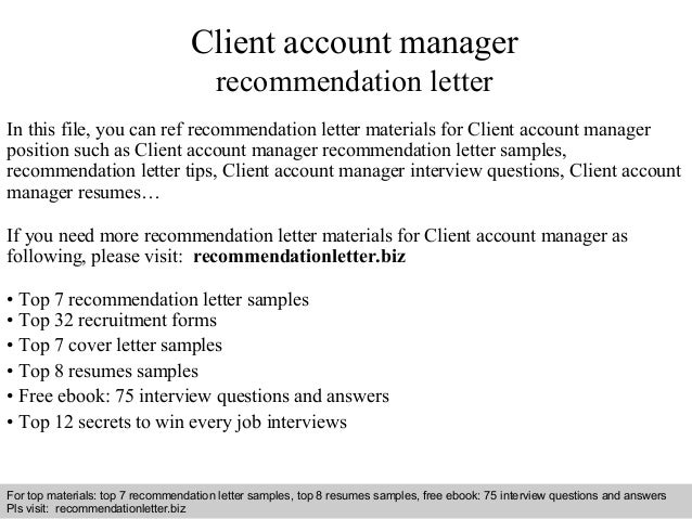 Client account manager recommendation letter