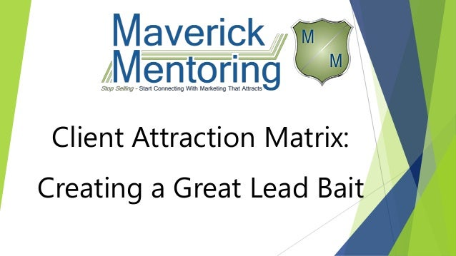 Client Attraction Matrix: Creating a Great Lead Bait