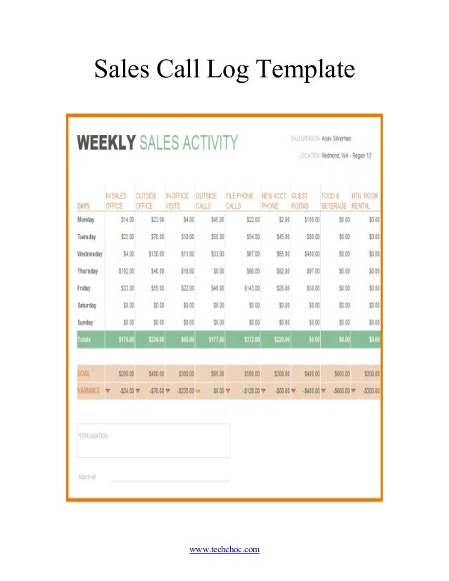 sales call logs