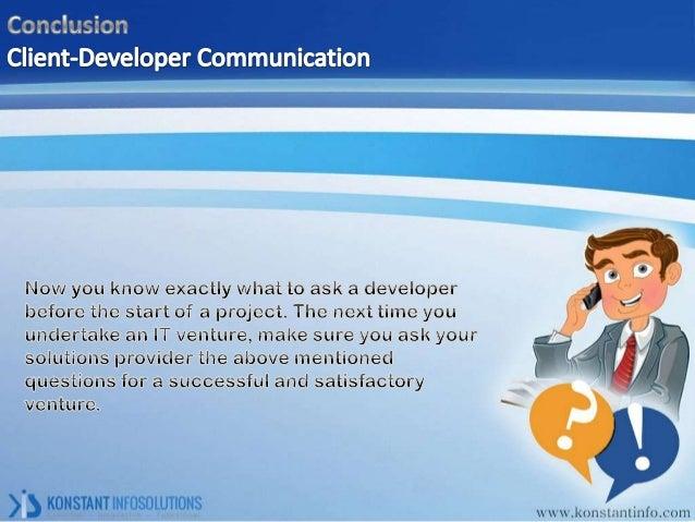 Client developer communication