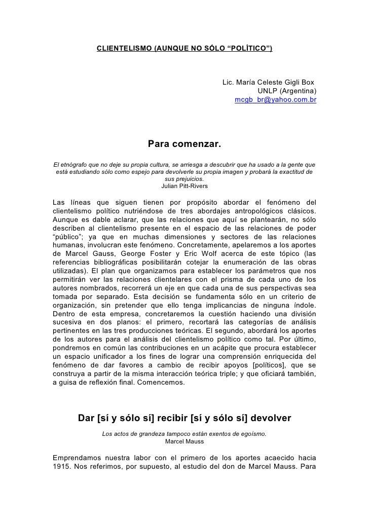 """CLIENTELISMO (AUNQUE NO SÓLO """"POLÍTICO"""")                                                                 Lic. María Celest..."""