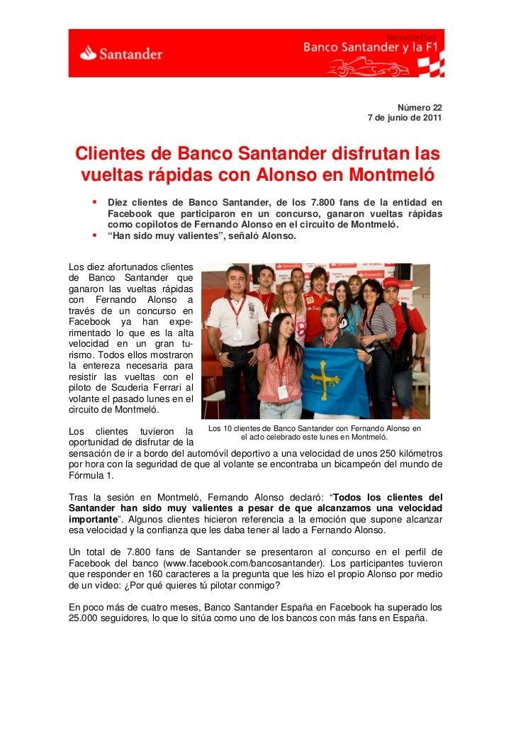 Número 22                                                                       7 de junio de 2011 Clientes de Banco Santa...