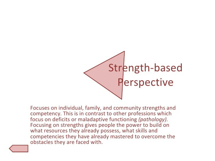 empowerment and strengths based perspective social work Reflections on the strength based perspective of a social worker - mastef of social work liguo zhang - essay - social pedagogy / social work - publish your bachelor's or master's thesis, dissertation, term paper or essay.