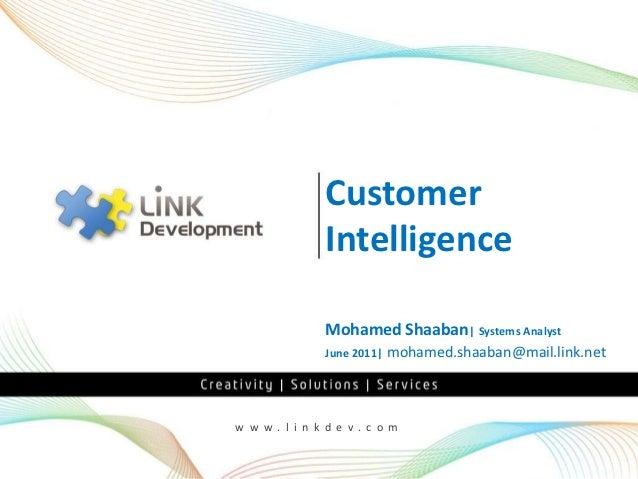 Customer              Intelligence              Mohamed Shaaban| Systems Analyst              June 2011|   mohamed.shaaban...