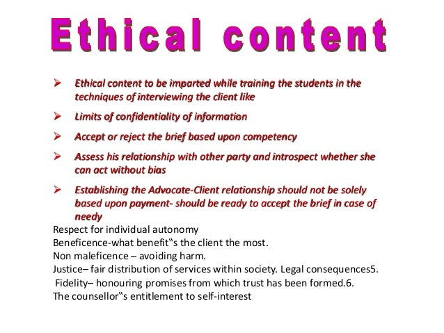 The Counselloru201fs Entitlement To Self Interest; 30. Parameters Of Assessment  ...