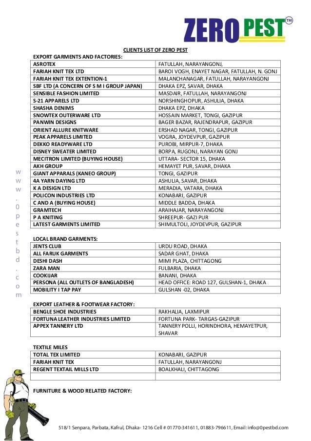 Client list of Zero Pest