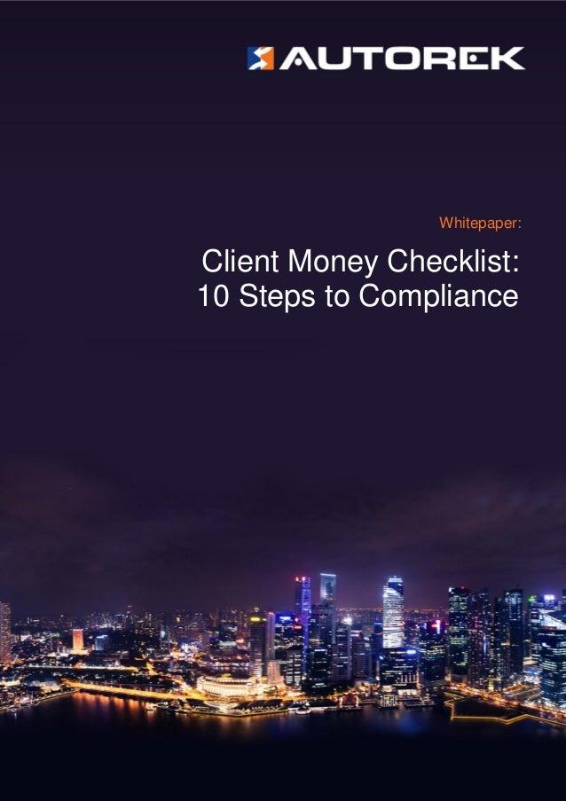 Whitepaper: Client Money Checklist: 10 Steps to Compliance