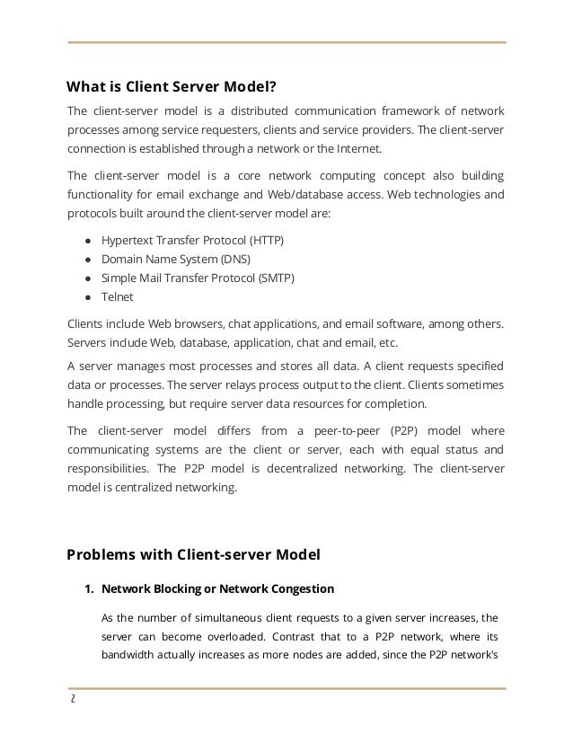 Client Server Model and Distributed Computing