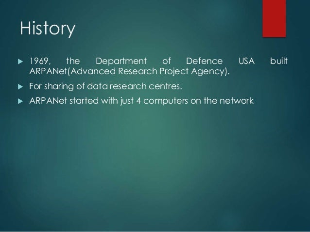 An introduction to the origins of the internet advanced research project agency network arpanet