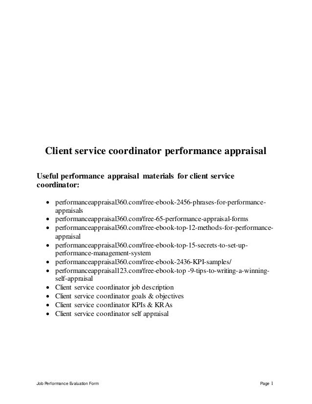 Job Performance Evaluation Form Page 1 Client service coordinator performance appraisal Useful performance appraisal mater...