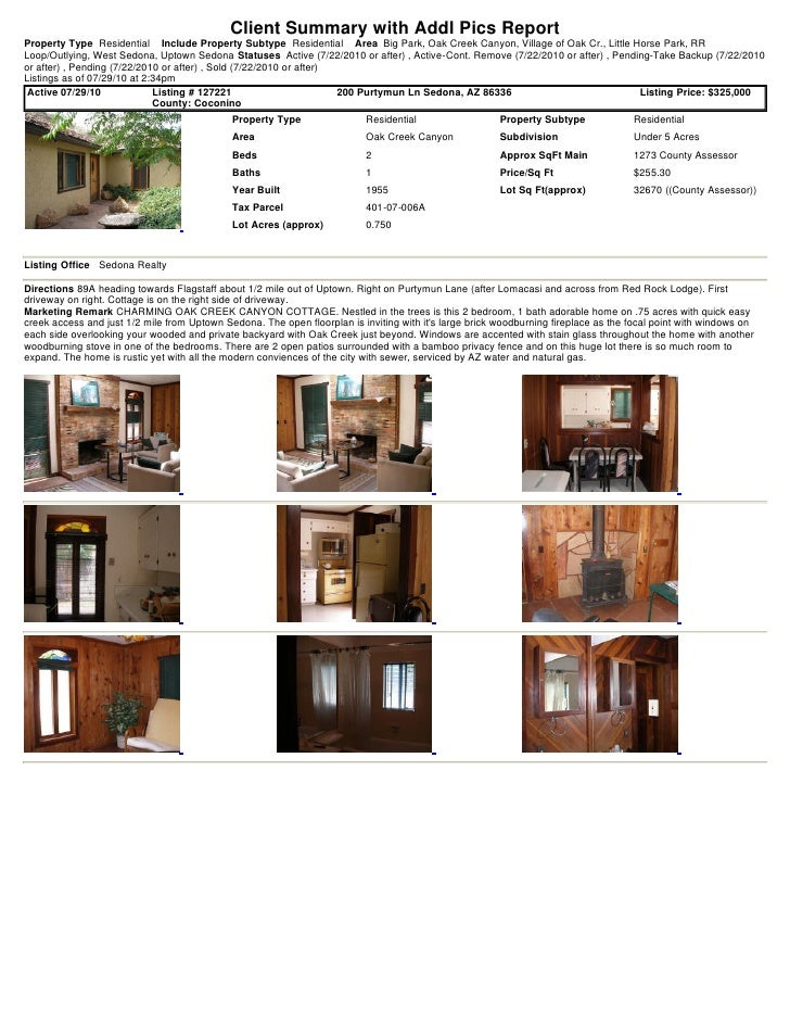 Client Summary with Addl Pics Report Property Type Residential Include Property Subtype Residential Area Big Park, Oak Cre...