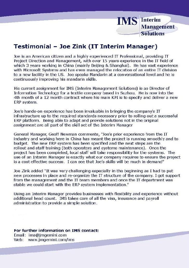 Client testimonial June 2010