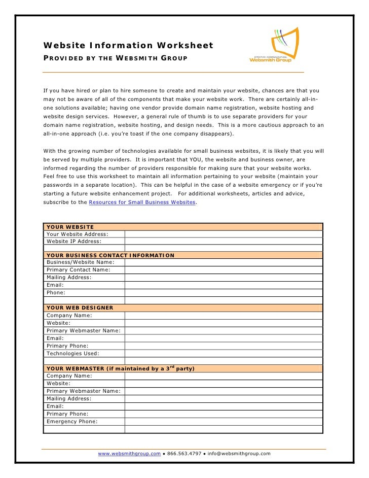 Website Information Worksheet