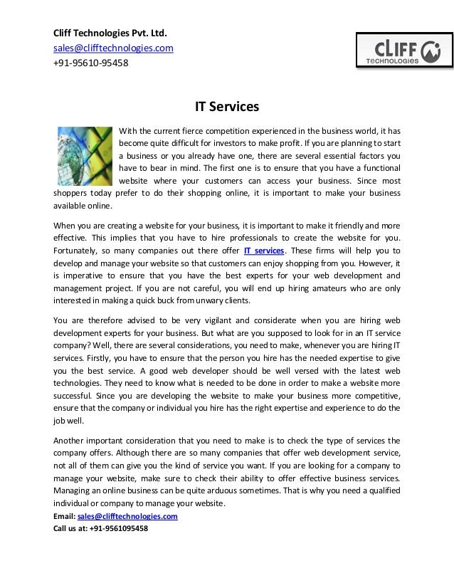 Cliff Technologies Pvt. Ltd. sales@clifftechnologies.com +91-95610-95458  IT Services With the current fierce competition ...