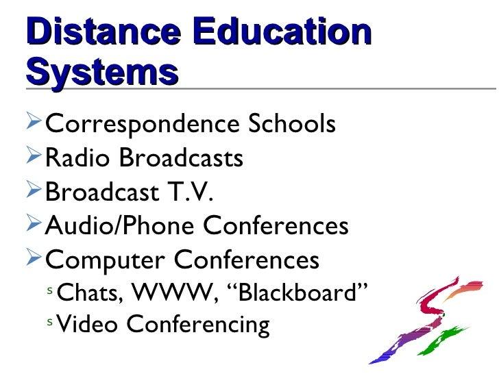 <ul><li>Distance Education Systems </li></ul><ul><li>Correspondence Schools </li></ul><ul><li>Radio Broadcasts </li></ul><...