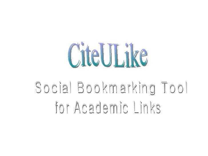 CiteULike Social Bookmarking Tool for Academic Links