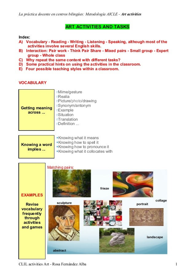 La práctica docente en centros bilingües: Metodología AICLE - Art activitiesART ACTIVITIES AND TASKSIndex:A) Vocabulary - ...