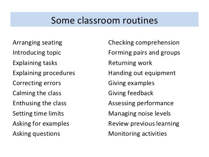 classroom management routines and procedures essay
