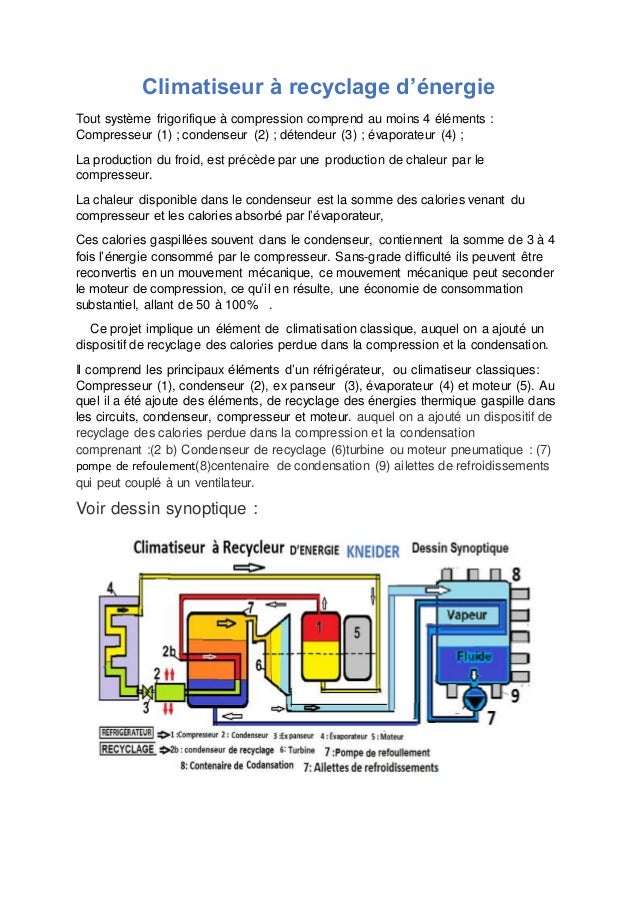 Climatiseur à recyclage d'énergie  Tout système frigorifique à compression comprend au moins 4 éléments :  Compresseur (1)...