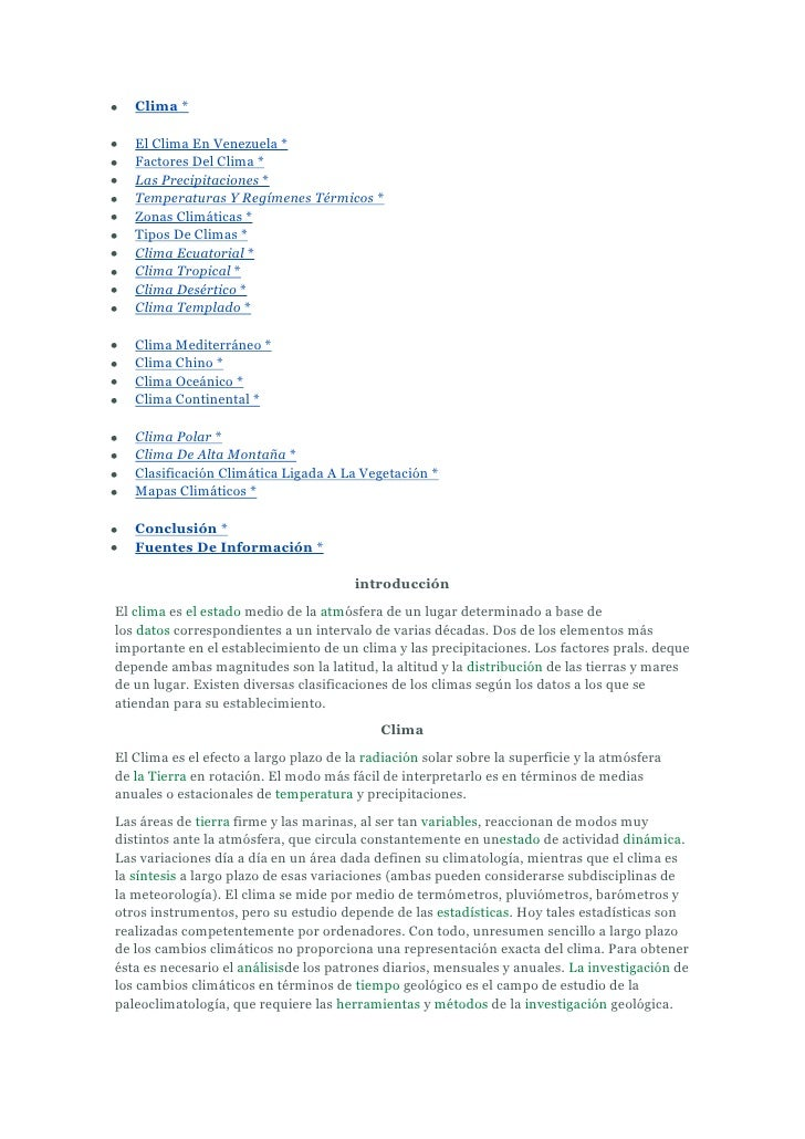 Clima *   El Clima En Venezuela *   Factores Del Clima *   Las Precipitaciones *   Temperaturas Y Regímenes Térmicos *   Z...