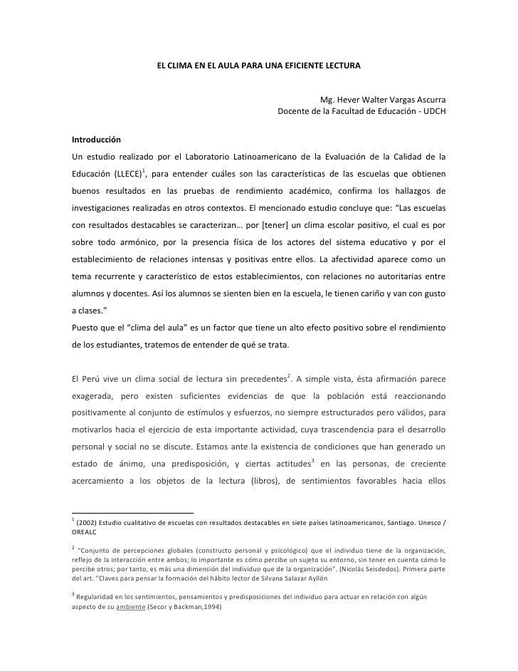 EL CLIMA EN EL AULA PARA UNA EFICIENTE LECTURA                                                                            ...