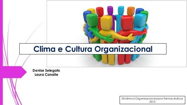 Clima e Cultura Organizacional Denise Selegato Laura Canalle  Dinâmica Organizacional para Farmacêuticos  Dinâmica Organiz...