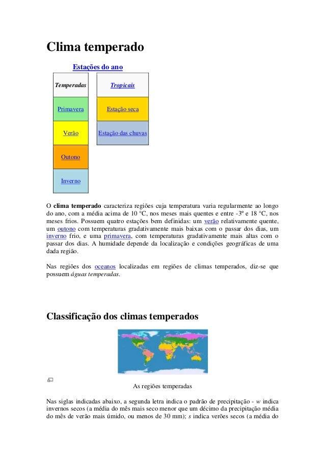 Clima temperado         Estações do ano   Temperadas          Tropicais    Primavera         Estação seca      Verão      ...