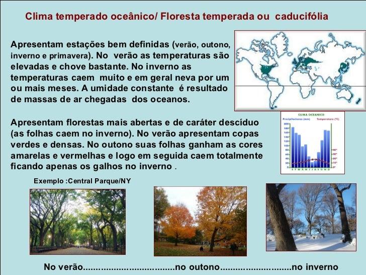 Clima Continental/ Floresta de coníferas ou Taiga      Temperado ou FrioApresentam verões curtos e brandos ( 12 a 18      ...