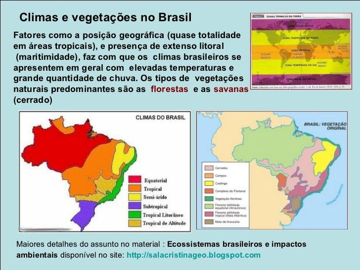 Principais tipos de climas e respectivas vegetações                        Brasil