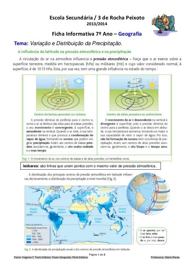 Página 1 de 3 Fonte: Viagens 7, Texto Editora; Fazer Geografia, Porto Editora. Professora, Marta Rosas Escola Secundária /...