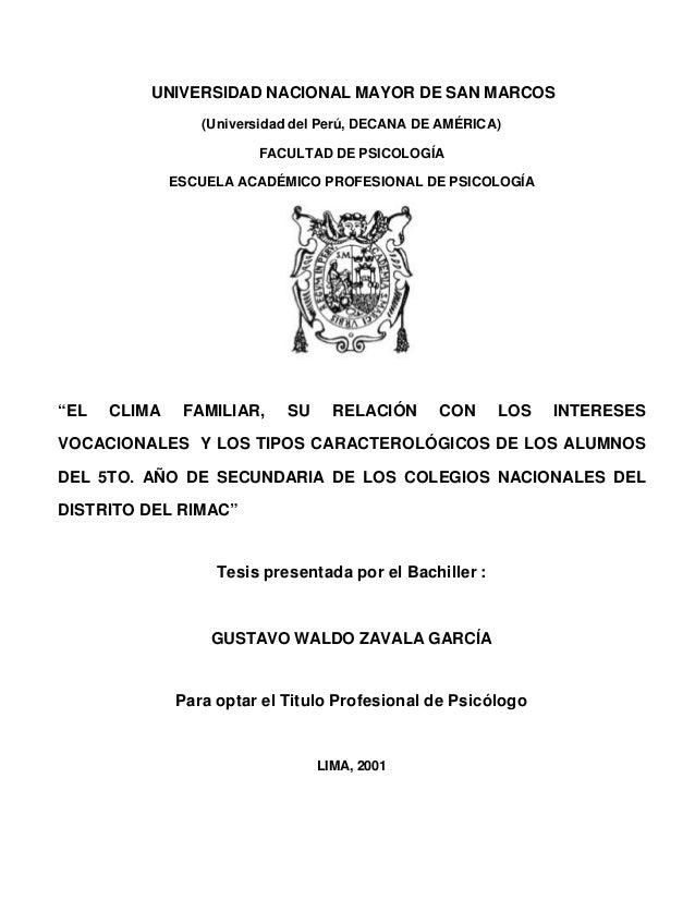 UNIVERSIDAD NACIONAL MAYOR DE SAN MARCOS (Universidad del Perú, DECANA DE AMÉRICA) FACULTAD DE PSICOLOGÍA ESCUELA ACADÉMIC...