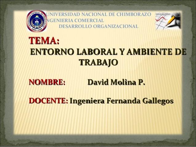 UNIVERSIDAD NACIONAL DE CHIMBORAZO6to DE INGENIERIA COMERCIAL            DESARROLLO ORGANIZACIONALTEMA:ENTORNO LABORAL Y A...