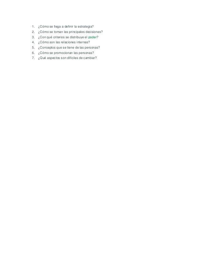 1. ¿Cómo se llega a definir la estrategia?2. ¿Cómo se toman las principales decisiones?3. ¿Con qué criterios se distribuye...