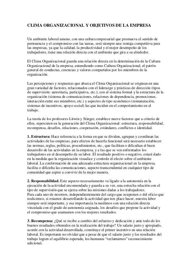 CLIMA ORGANIZACIONAL Y OBJETIVOS DE LA EMPRESA Un ambiente laboral ameno, con una cultura empresarial que promueva el sent...