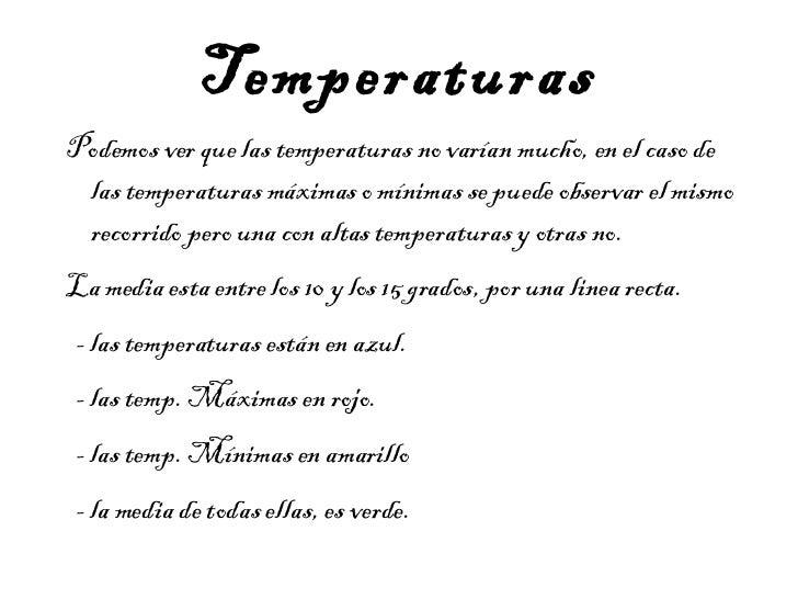 Temperaturas <ul>Podemos ver que las temperaturas no varían mucho, en el caso de las temperaturas máximas o mínimas se pue...