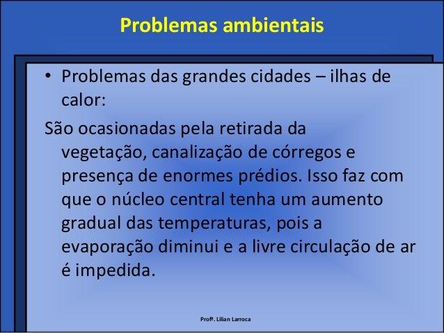 Problemas ambientais• Problemas das grandes cidades – ilhas de  calor:São ocasionadas pela retirada da  vegetação, canaliz...