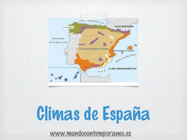 Climas de España www.mundocontemporaneo.es