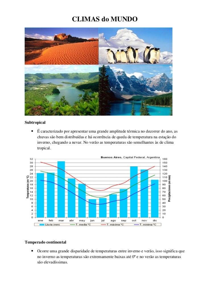 CLIMAS do MUNDOSubtropical    É caracterizado por apresentar uma grande amplitude térmica no decorrer do ano, as     chuv...