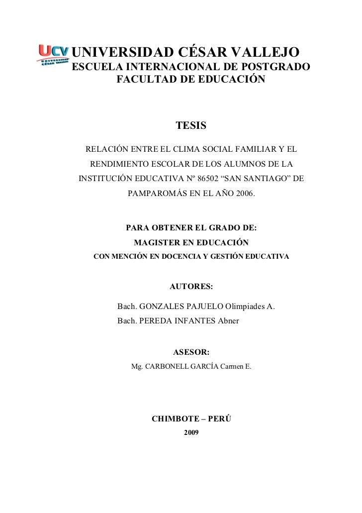 UNIVERSIDAD CÉSAR VALLEJO ESCUELA INTERNACIONAL DE POSTGRADO       FACULTAD DE EDUCACIÓN                          TESIS   ...