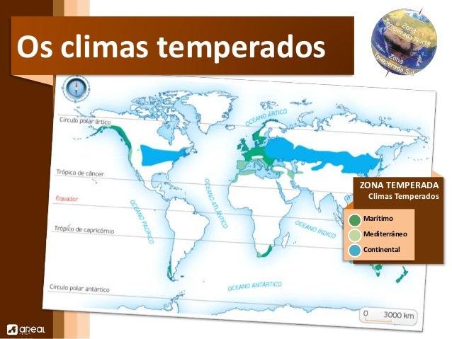 ZONA TEMPERADA  Climas Temperados  Marítimo  Mediterrâneo  Continental  Os climas temperados